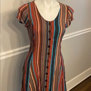 Band of Gypsies Small Striped mini dress buttons